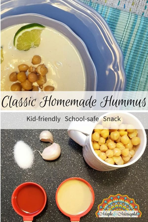 Easy Homemade Hummus recipe | Lentil recipes | Meatfree proteins | School safe Kid-friendly Snacks and Appetizers | Maple and Marigold