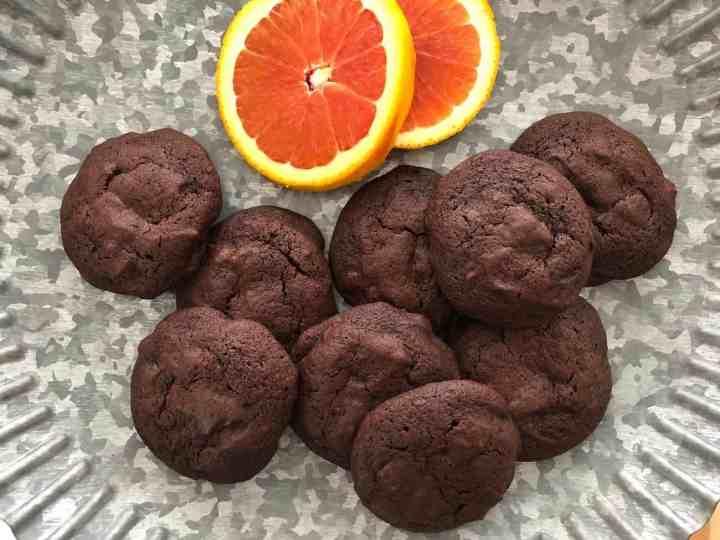 chocolate orange chocolate chip cookies on galvanized metal stand top viewJPG