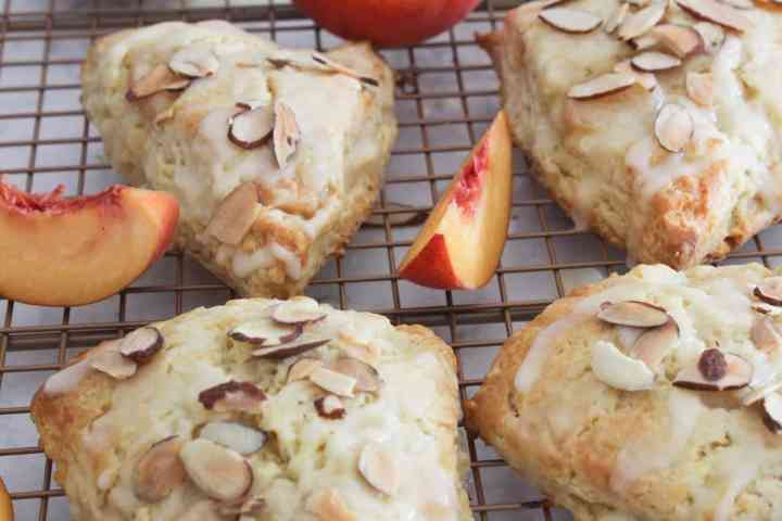glazed peach scones with toasted almonds