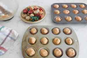peanut butter cup cookies in baking pans