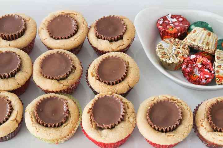 peanut butter cup cookies on a tray