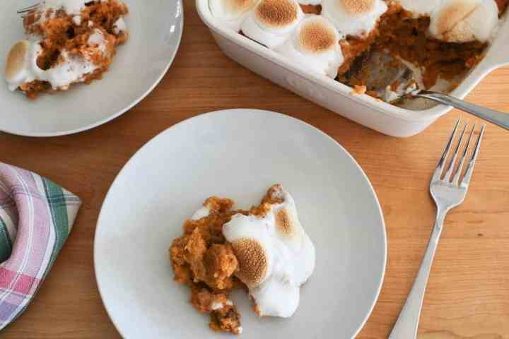 sweet potato souffle on two plates