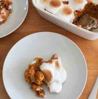 sweet potato souffle on two plates