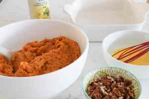 sweet potatoes with egg and pecans