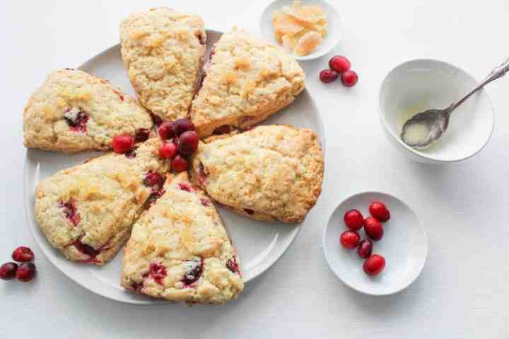 ginger cranberry scones on plate