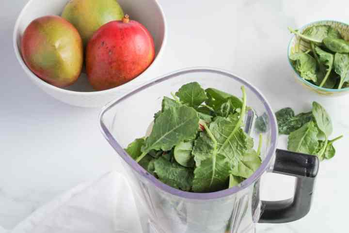 tropical green smoothie in blender