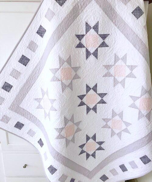 Diamond Stars Around the Block Quilt Pattern