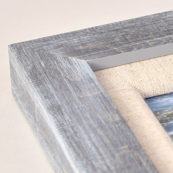 Francesca canvas grey wood frame corner