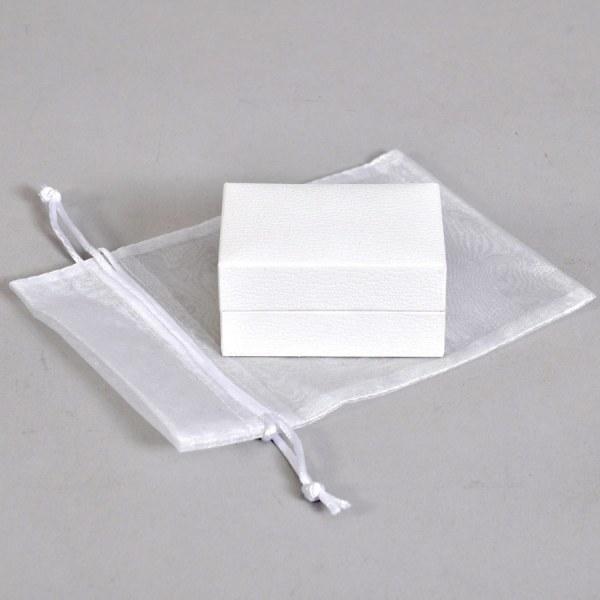 Luxury white presentation box with organza bag