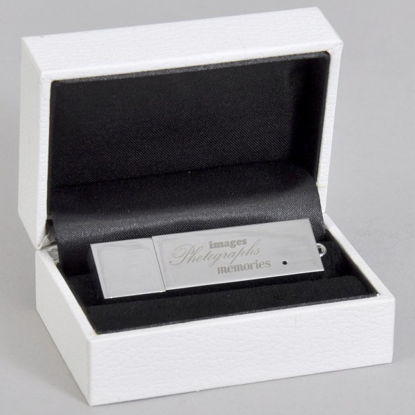 Luxury white presentation box with flash drive