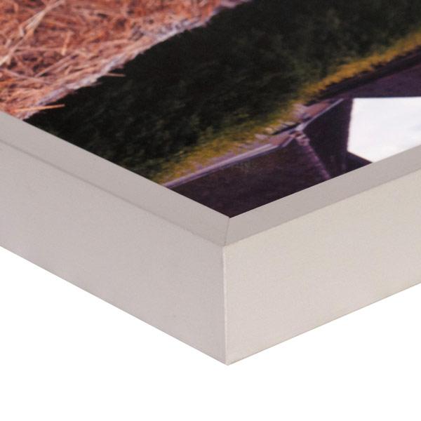 Silver aluminium frame corner