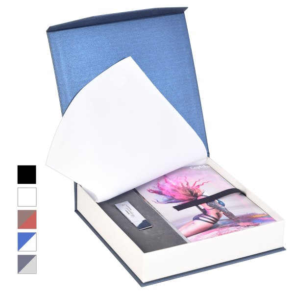 Bliss-2 Print Box in Blue/white with Flash Drive