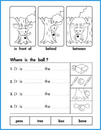 In Front Of Behind Between Prepositions Worksheet