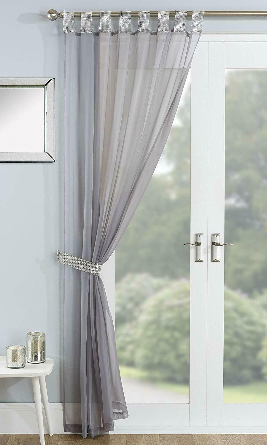 sparkling rhinestone jewelled tabtop with free tieback grey voile curtain panel
