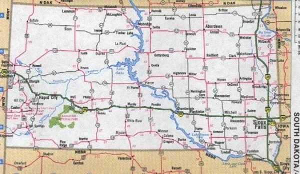 Maps for Montana North Dakota Wyoming South Dakota