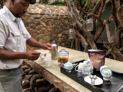 Morning coffee before game drive