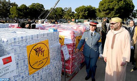 جلالة الملك يترأس ويشرف شخصيا ويعطي انطلاقة عملية إرسال مساعدة إنسانية موجهة للشعب الفلسطيني الشقيق