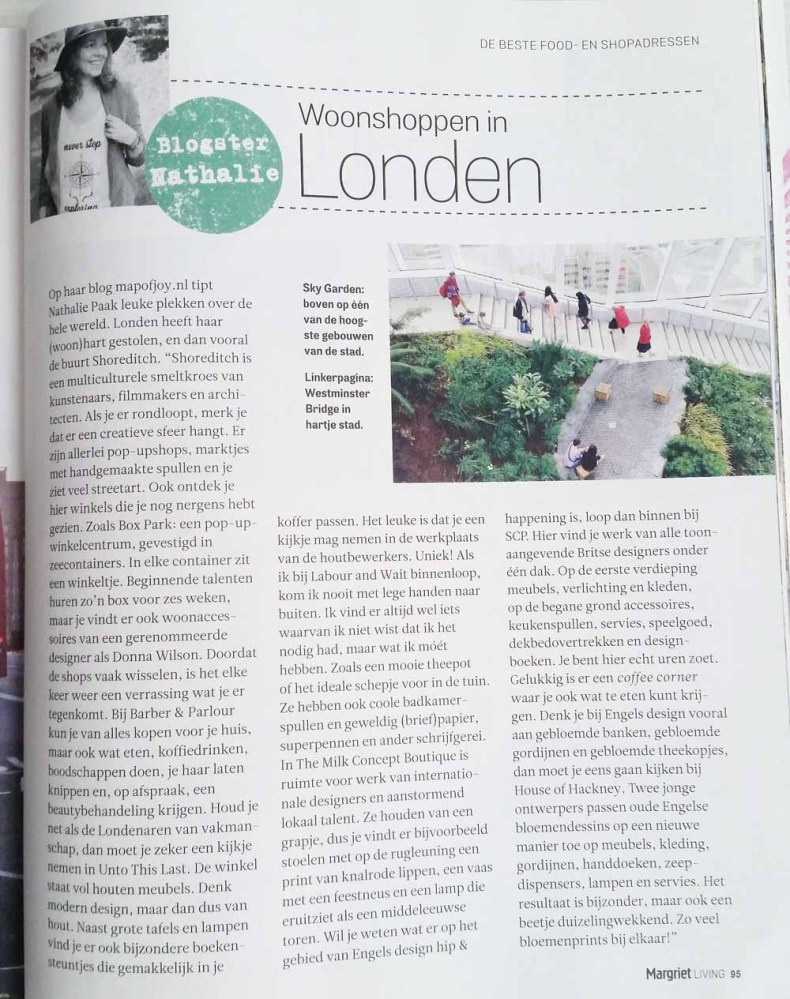 Margriet Living interview Map of Joy over Londen