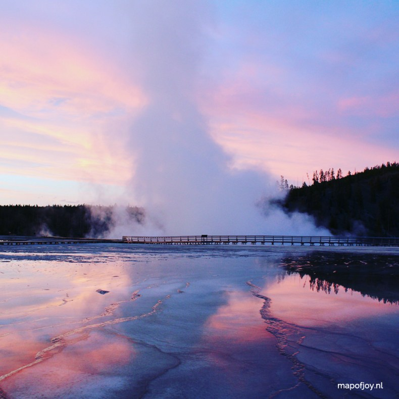 Grand Prismatic Spring, Yellowstone, sunset, USA - Map of Joy