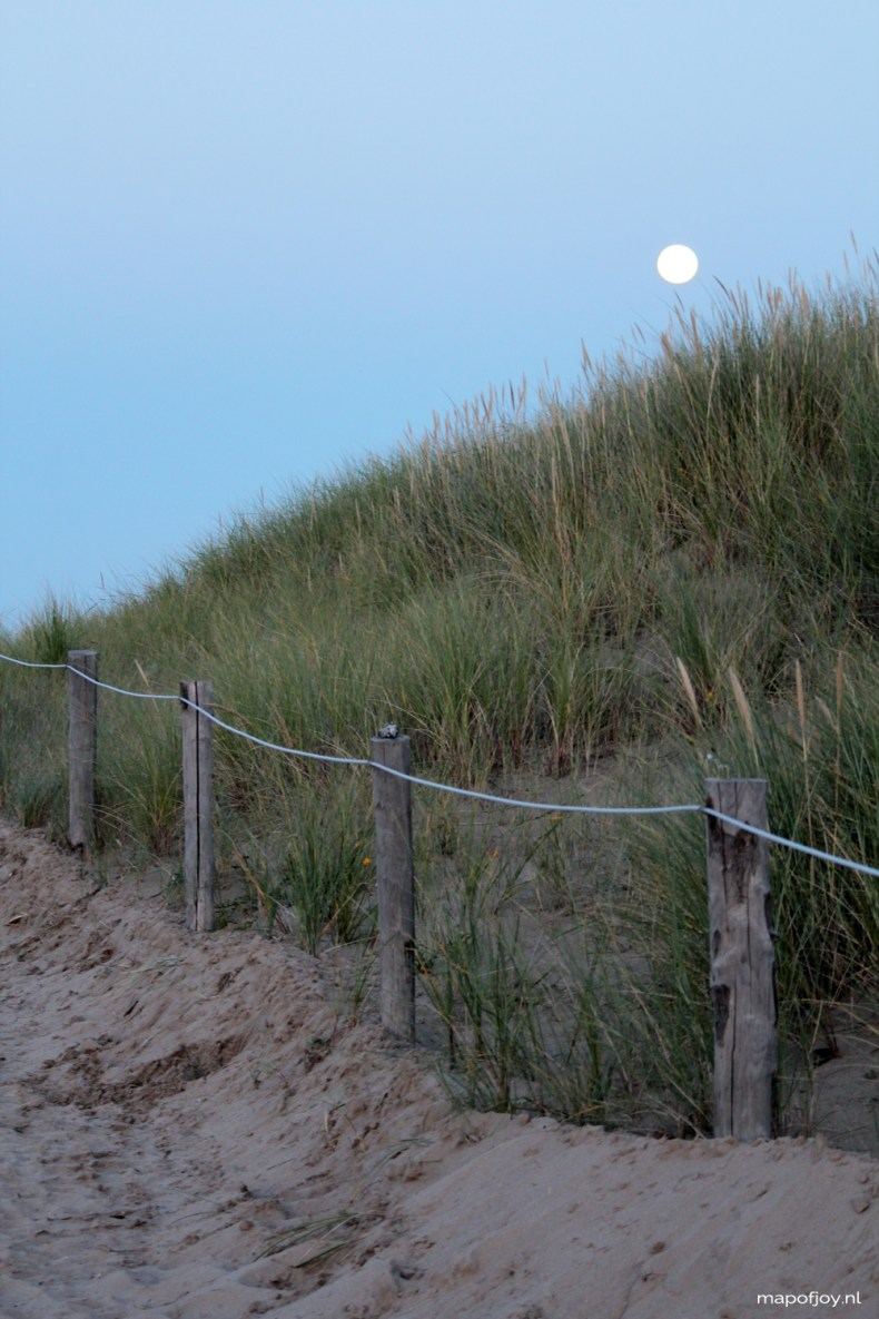 Sunset, beach, travel, Texel, The Netherlands, full moon - Map of Joy