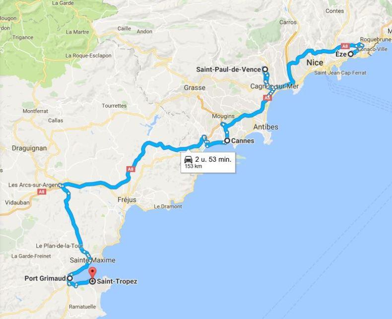 Roadtrip route langs de 5 mooiste dorpjes Cote d'Azur, Frankrijk - Map of Joy