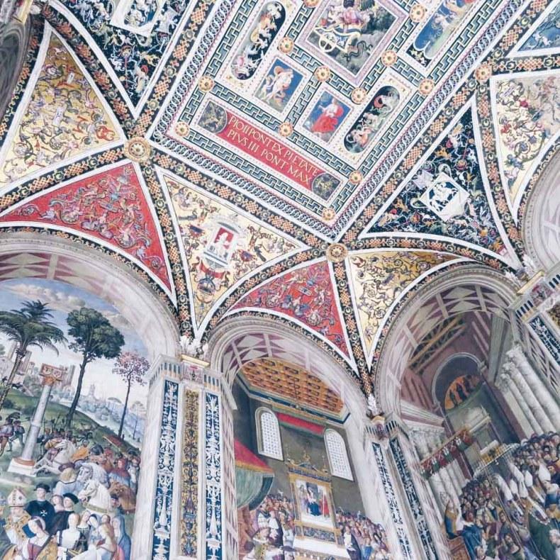 Siena, duomo, bibliotheek, Toscane, Italië - Map of Joy