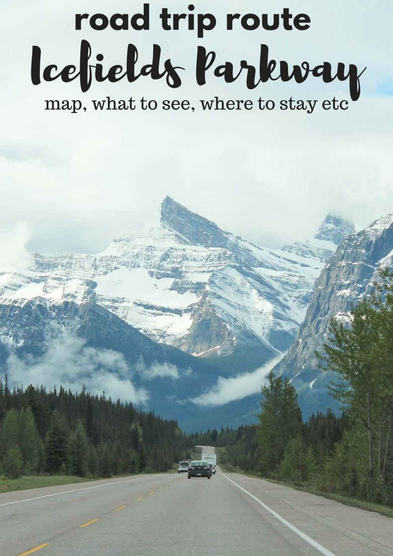 Road trip route Icefields Parkway, highlights, tips, map - Map of Joy