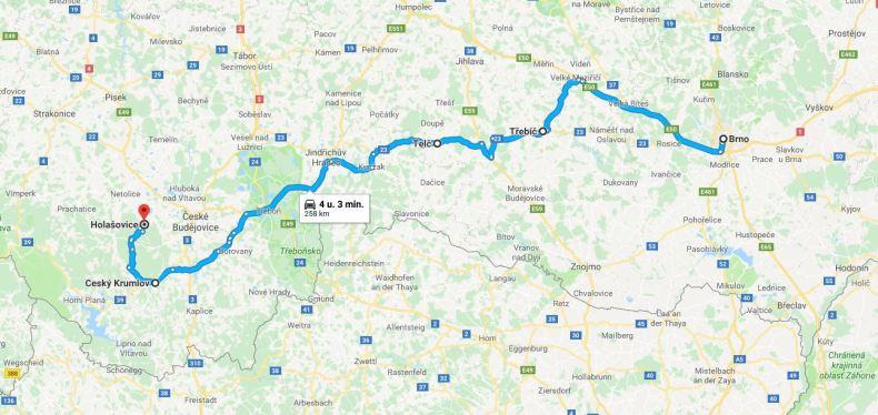 roadtrip route langs 12 UNESCO-monumenten in Tjechië - Map of Joy