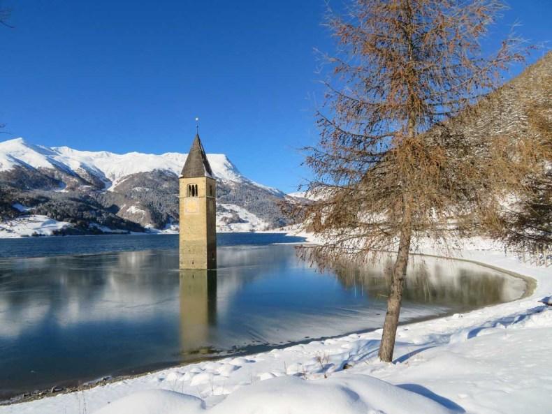 Reschenpass, Reschenmeer in Zuid-Tirol - Map of Joy