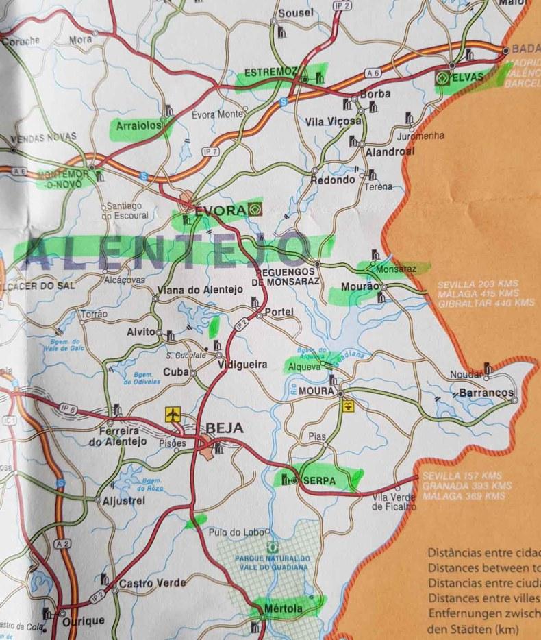 Rondreis Alentejo Portugal, plattegrond - Map of Joy