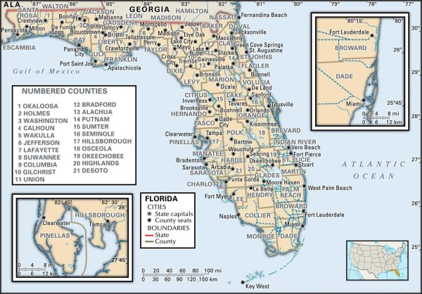 State and County Maps of Florida