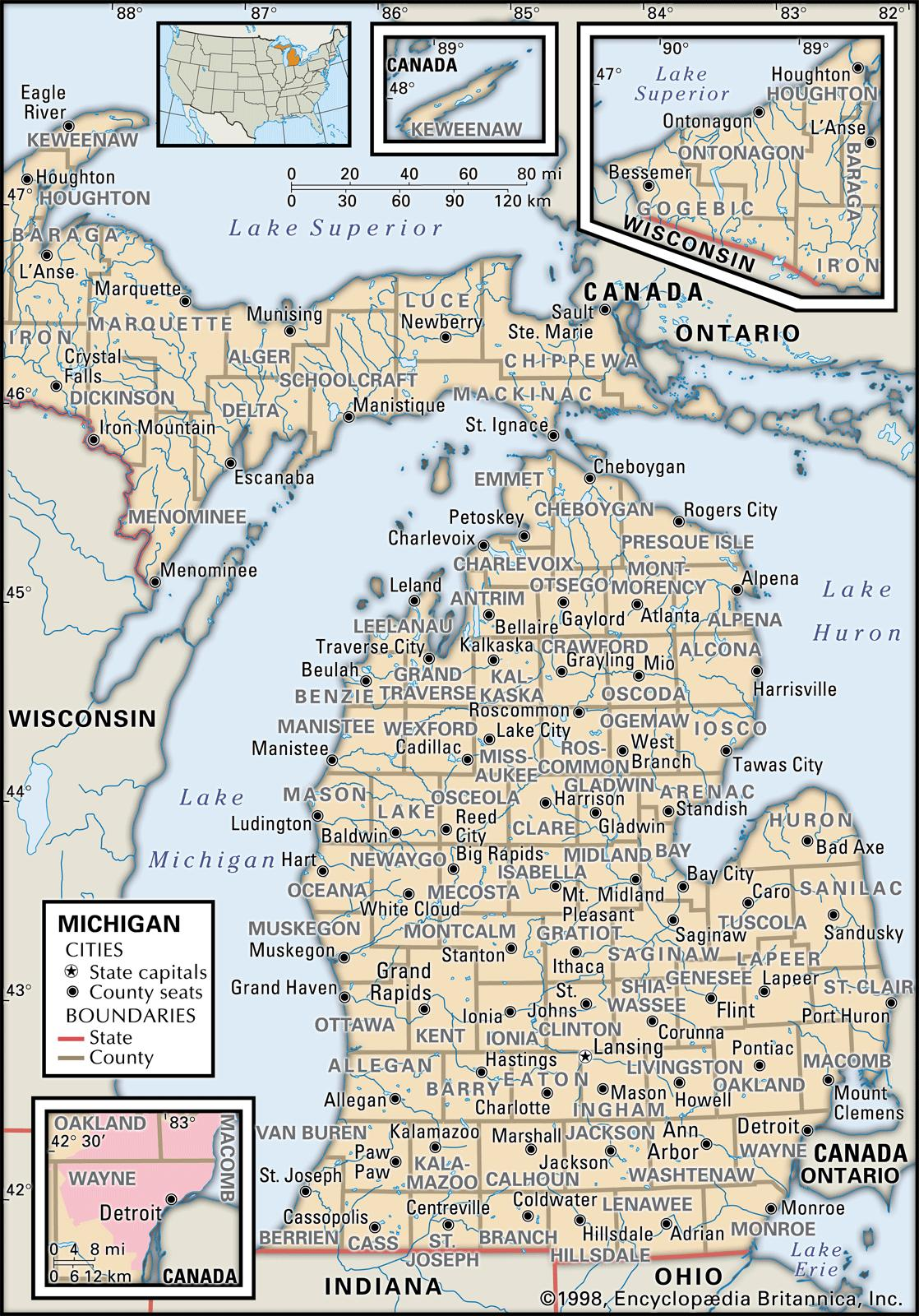 West Michigan County Map Cities