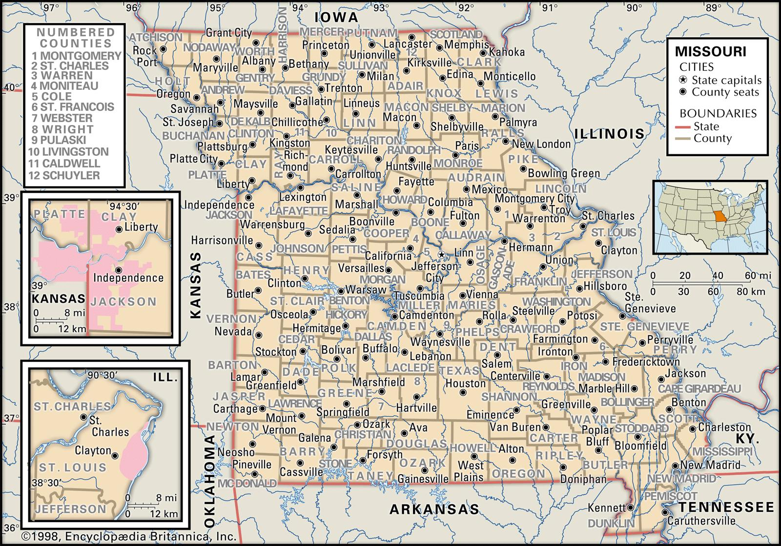 Missouri State Map With Counties