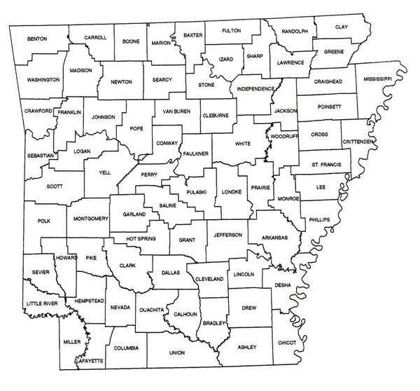 Arkansas Historical County Map arkansas mappery
