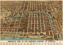 Birdseye Of Business District Chicago 1898 Map
