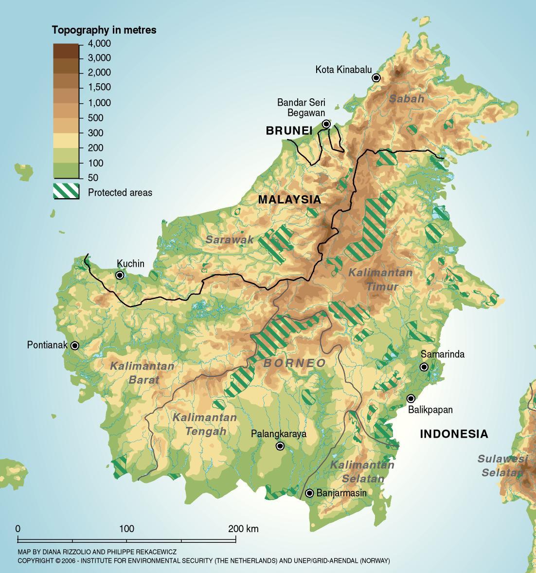Borneo Protected Areas Map - Borneo Indonesia • mappery