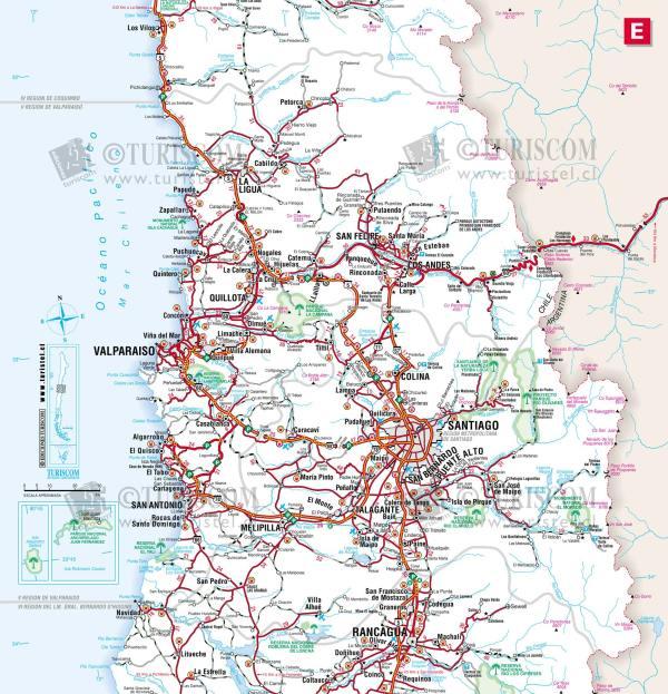 Central Chile Tourist Map Santiago Chile mappery