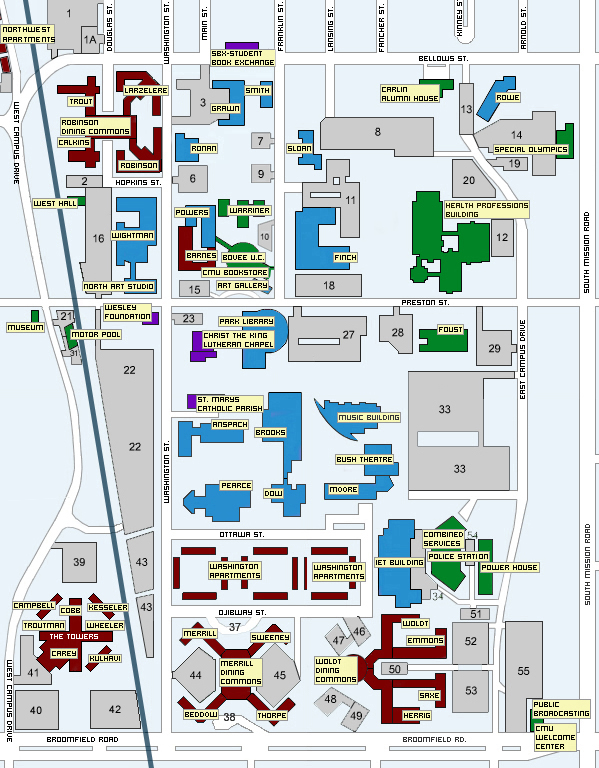Central Michigan University Map Mount Pleasant Mich