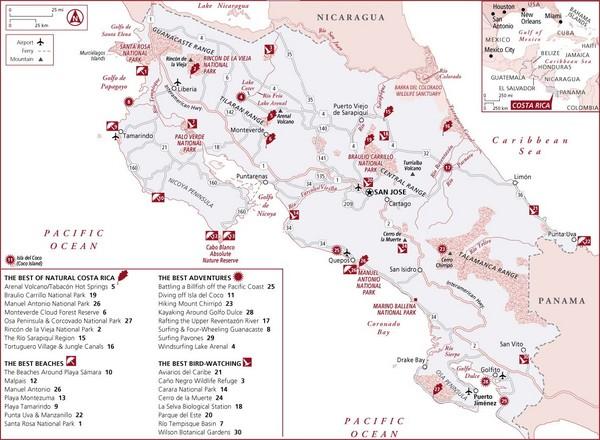 Costa Rica Tourist Map Costa Rica • Mappery