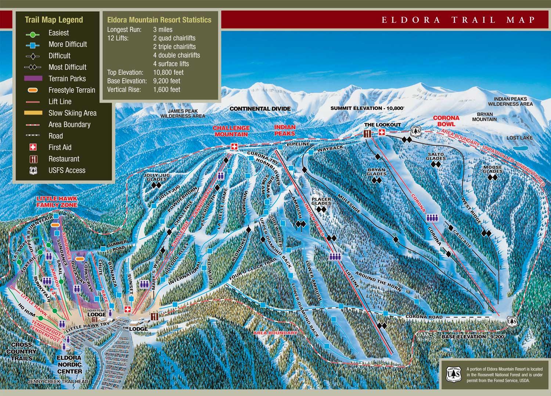 Eldora Mountain Ski trail Map  Nederland CO 80466  mappery