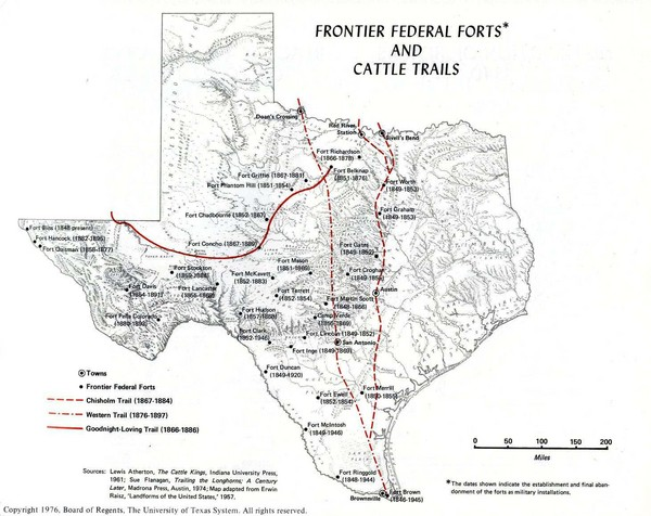 Frontier Federal Forts and Cattle Trails in Texas