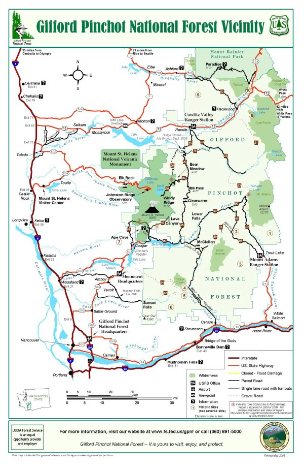 Gifford Pinchot National Forest Vicinity Map Gifford