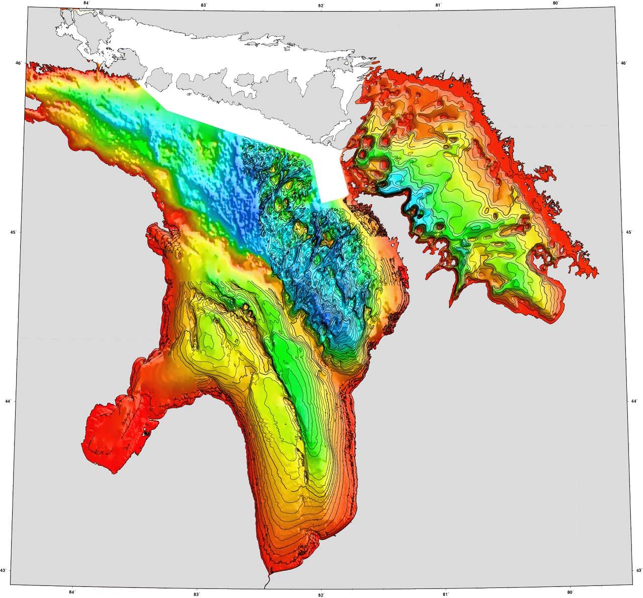 Lake Huron Depths Map Mappery