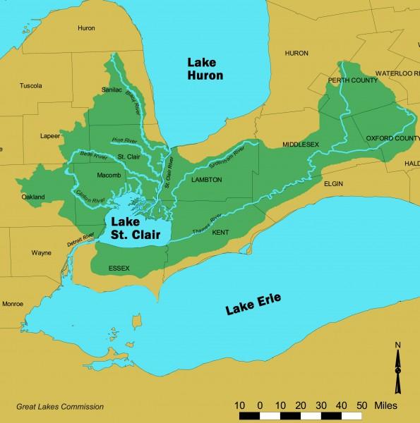 Lake St Clair St Clair River Watershed Map Chatham Kent