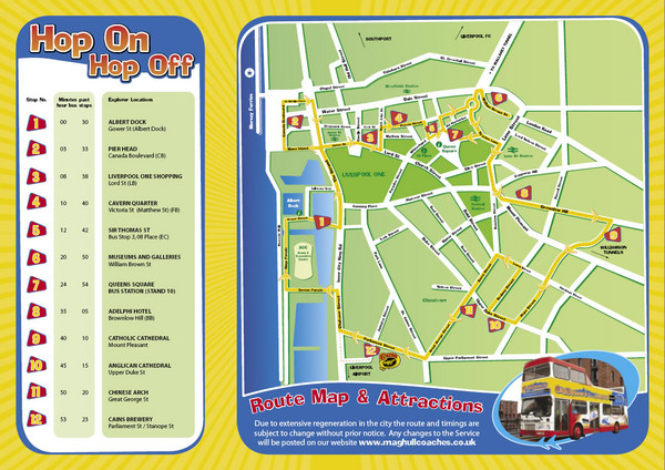 Liverpool Bus Tour Map Liverpool mappery