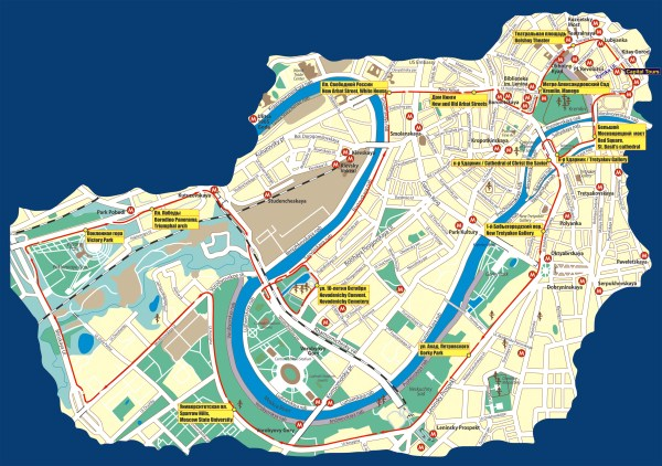 Moscow Bus Tour Map Moscow mappery