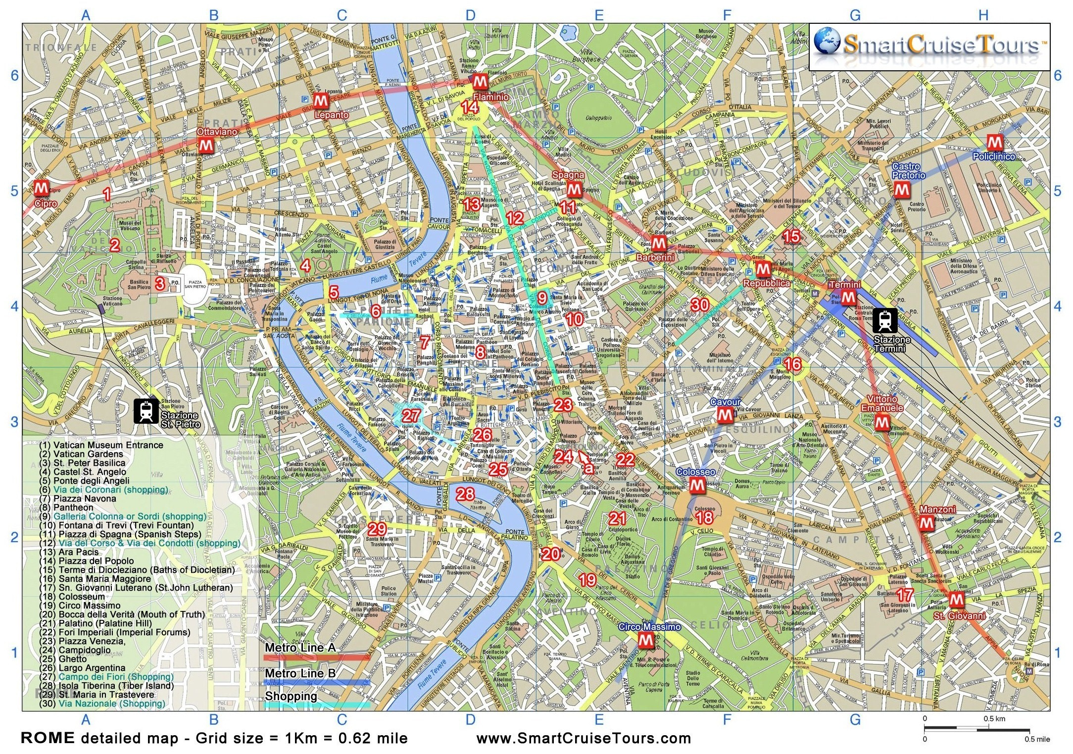 Clean image inside printable map of rome
