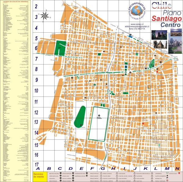 Santiago Center Map Santiago Chile mappery