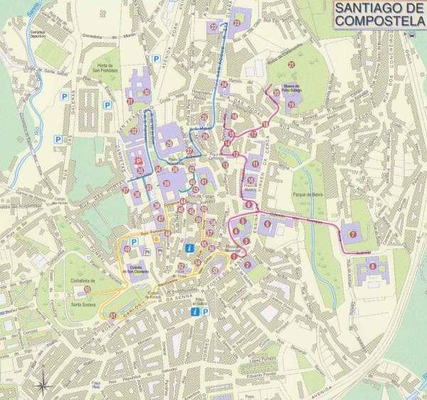 Santiago de Compostela Tourist Map Santiago de