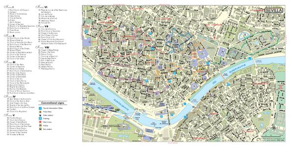 Seville City Monuments Map Seville Spain mappery